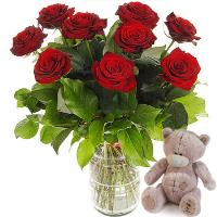 2530 - 9 Red Roses and Teddy Bear