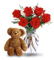 2531 - 6 Red Roses and Teddy Bear